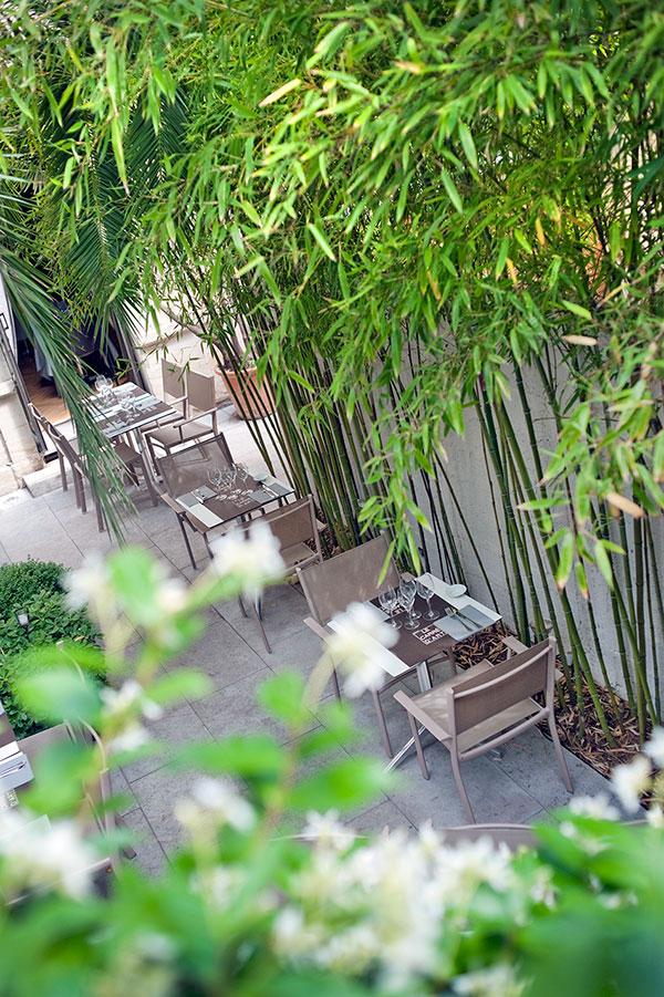 Vue de la terrasse du restaurant à Nîmes Le Carré d'art - les bambous