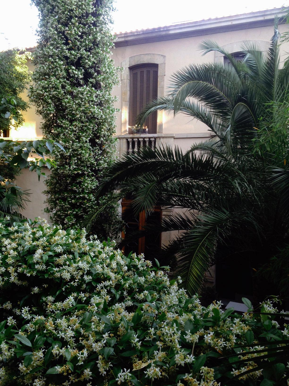 L'extérieur au printemps du restaurant le Carré d'Art à Nîmes