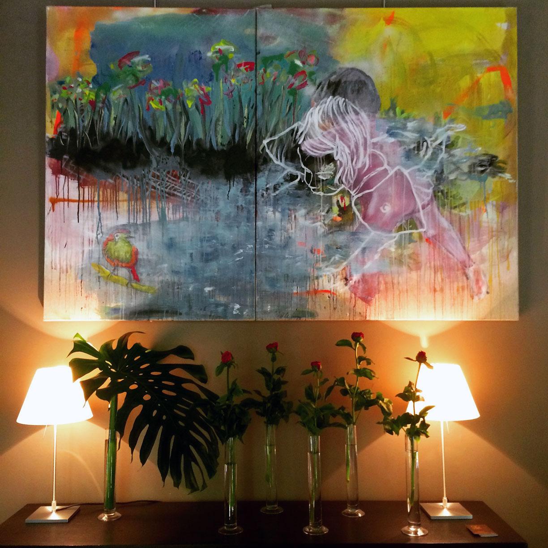 Une exposition de peinture au restaurant le Carré d'Art à Nîmes